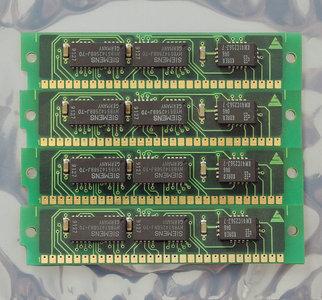 Set 4x Siemens HYB514256BJ-70 256KB 1MB kit 70ns parity 30-pin gold contacts SIMM RAM memory modules - vintage retro 80s