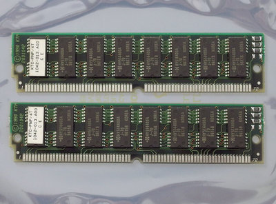 Set 2x Kingston KTC-PNP/4T 4MB 8MB kit 70ns non-parity 72-pin tin contacts SIMM FPM RAM memory modules - vintage retro 90s