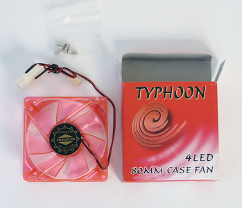 New Typhoon 4LED red LED 80mm fan - NOS ATX case enclosure
