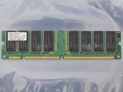 Hynix HYM71V16635HCT8-H AA 128MB PC133 CL3 168-pin DIMM SDRAM memory module