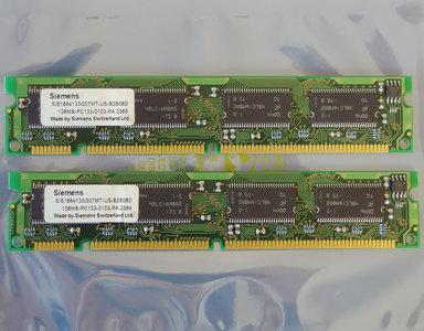 Set 2x Siemens SIE1664133G07MT-US-B2B08D 128MB 256MB kit PC133 168-pin DIMM SDRAM memory modules