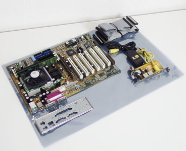 Asus CUV4X-E rev.1.05 socket 370 ATX PC motherboard main system board w/ PIII 1GHz CPU + 256MB RAM set - bundle S370 Pentium III P3 AGP PCI Via Apollo Pro 133A