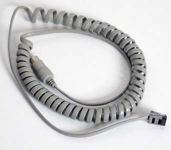 HP Hewlett-Packard 5081-2249 20276 5-pin DIN serial coiled keyboard cable 115 cm grey - Vectra QS/16 QS/20 vintage