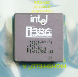 Intel 386 A80386DX-16 SX213 16MHz PGA132 processor - i386 386DX 16 MHz CPU 132 pin vintage retro 80s
