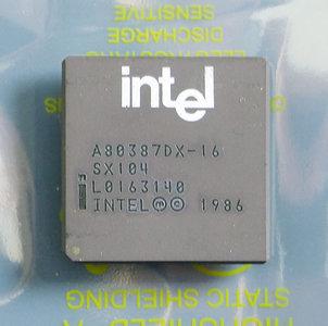 Intel 387DX A80387DX-16 SX104 16MHz PGA68 FPU - i387DX i387 80387 386 i386 16 MHz floating point unit math co-processor 68-pin vintage retro 90s