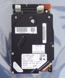 IBM WDS-3158 FRU P/N 6128298 3.5'' internal 50-pin SCSI 120MB hard disk drive HDD - 120 MB 6128268 PS/2 Model 80 vintage retro 90s