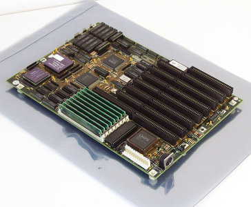 Soyo SY-019C baby AT PC motherboard main system board w/ AMD 386DX 33MHz CPU + FPU + cache + 8MB RAM set - ISA DOS vintage retro 90s