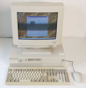 UNISYS MDP 5605 Pentium MS-DOS / Windows 3.11 95 desktop PC set w/ monitor - ISA PCI parallel LPT vintage retro 90s