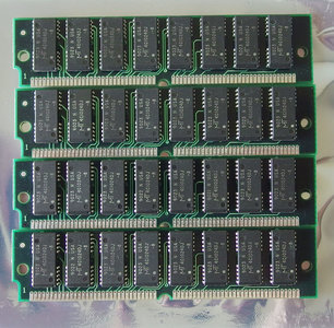 Set 4x Micron MT4C1024DJ-8 1MB 4MB kit 80ns non-parity 64-pin tin contacts SIMM FPM RAM memory modules - Apple Macintosh IIfx vintage retro 90s