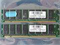 Set 2x Micron MT48LC16M8A2-75 E / Mosel Vitelic V54C3128804VAT7 256MB 512MB kit PC133 168-pin DIMM SDRAM memory modules