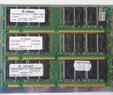 Set-3x-Infineon-HYS64V32220GU-7.5-C2-HP-1818-8792-256MB-768MB-kit-PC133-CL3-168-pin-DIMM-SDRAM-memory-modules-P1538-63010-COMPAQ-P-N-140134-001