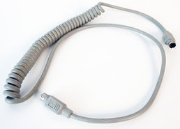 Apple-ADB-coiled-keyboard-cable-590-0361-B-100-cm-grey-vintage-retro-Macintosh-SE-Classic-Performa-IIgs