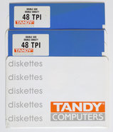New-loose-Tandy-5.25-DS-DD-double-sided-double-density-blue-floppy-disks-unformatted-2p-vintage-retro-80s
