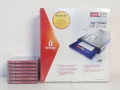 New-&-sealed-Iomega-ZIP-750MB-external-USB-2.0-drive-w--7x-new-750MB-ZIP-disks-NOS-PC-Mac