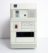 Baby-AT-mini-tower-case-enclosure-beige-w--200W-power-supply-vintage-retro-80s-90s-CPU-speed-MHz-LED-turbo-button-white-286-386-486-DOS-PC